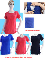 Wholesale BIG Size Side shirred Solid Maternity Pregnancy T shirts Breastfeeding Clothes Nursing Tops Short Sleeve M L XL