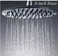 Wholesale 8 quot Round Brass Chrome Rain Shower Head Bathroom Shower Accessary Ultrathin Design