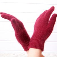 Wholesale Mink Cashmere Gloves of Women s Five Fingers Style Winter Style Colors Fashion Warm items Mink Cashmere Gloves Exempt Postage W011