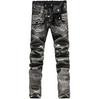 best slim jeans for men - Newest Fashion Pencil Jeans for Men Mid Waist Best Cotton Jeans Zipper Fly Slim Fit Jeans Gold Silver Color NZK