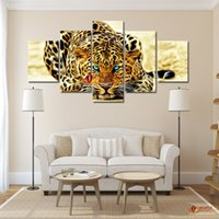 abstract digital - 5 Piece Wall Decor Painting Abstract Leopards Wall Art Canvas Picture Art HD Print Painting Set of Each Canvas Arts Unframed