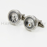Wholesale The most popular Waterproof cufflinks l stainless steel floating locket cufflink with crystals or without crystals