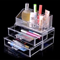 acrylic storage containers for makeup - 1604 Clear Acrylic Cosmetic Organizer with Two Drawers Case Container for Makeup Jewelry Storage