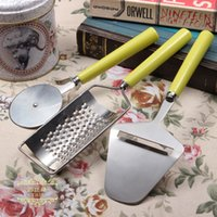 Wholesale Cooking tools set pizza cutter cheese slicer and planing Ceramic handle and stainless steel body