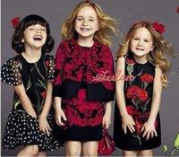 Wholesale Chiffon Carnation Flowers - New red carnation flowers dot point black sleeve chiffon fly girl dress dress girl children summer princess dress
