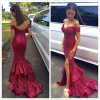 Wholesale Sparkling Sequins Split Mermaid Prom Dresses Sexy Off Shoulder Sweep Train Zuhair Murad Sequined Formal Dress Evening Plus Size Sale