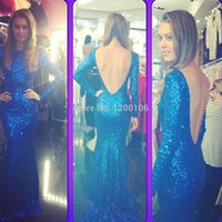 Cheap Sparkly Bateau Backless with Sequins Beads Royal Blue Long Sleeve Corset Mermaid Formal Evening Prom Dresses 2015 Vestido