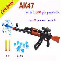 Wholesale PAINTBALL GUN SOFT BULLET GUN PLASTIC TOY PISTOL AK47 CS GAME SHOOTING WATER CRYSTAL GUN NERF AIR SOFT GUN MILITARY MODEL
