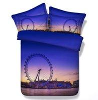 al por mayor púrpura rey edredón azul-Azul púrpura consolador ropa de cama reina completa súper king size edredón doble edredón cubierta hoja de cama cubrecamas doble diseñador de molino de viento