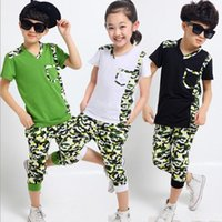 Cheap Children Tracksuit Short Sleeve T-shirt+Pants Big Kids 2pcs Set Big Boys Girls Sport Suits Camouflage cotton Child Clothing Sets