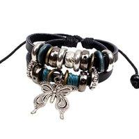 beaded butterfly ornament - 2016 new bracelet leather strap beaded bracelet Butterfly couples ornaments woven bracelet
