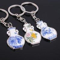 Wholesale keychain Blue And White Porcelain Ceramic Vase key Ring About G KC564