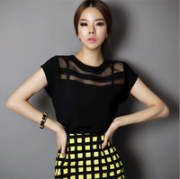 china clothes - 2015 Summer Ladies Black Tops Chiffon Shirts Blouses For Women Sheer Cheap Clothes China Femininas Camisas Clothing Female Plus Size