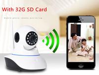 al por mayor cámaras de seguridad tarjeta de infrarrojos sd-La más nueva cámara del IP de HD 720P WIFI P2P Nube CCTV IR Webcam de la alarma de la seguridad sin hilos con 1 tarjeta libre de 32G SD