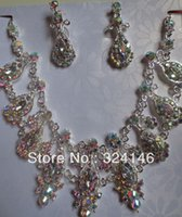 bib pictures - Real picture AB color luxurious bridal jewelry sets bib necklace wedding accessory