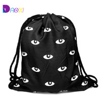 Wholesale Top Quality women beach backpack printing bag for picnic mochila feminina harajuku drawstring bag mens backpacks eyes black