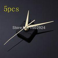 Precio de Relojes de cuarzo piezas-2016 a estrenar 5pcs oro Manos DIY Negro cuarzo movimiento reloj de pared de partes del mecanismo de reparación silenciosa