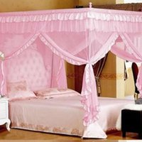 Wholesale 2 Colors Elegant Romantic Room Net Post Bed Canopy Mosquito Net Twin Sizes Netting Bedclothes