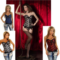 Wholesale Hot sexy Lace Burlesque Overbust Corset Lace up Lingerie Bustiers Sexy Lingerie G string waist training corsets