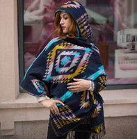 fashion ponchos for - Lady Wool Geometric Scarf Irregular Shawl Bohemian Poncho Scarves Thick Hooded Cape Infinity Pashmina Scarfs with Tassel for Women Color