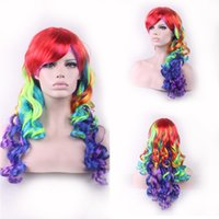 Long beautiful girl wigs - Cosplay Cheap Rainbow Wig Lolita long curly synthetic wigs ombre party wigs inches Multi Color Beautiful hair wig