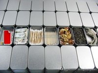 wholesale tea tins - 100pcs Plain silver tin box rectangle tea candy business card usb storage box case Y256