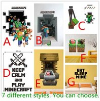 Wholesale 50pcs Cartoon Minecraft Wall Stickers Party Decoration Creeper Enderman Pig Wallpaper D Decorative Wall Decal Wallpaper Rolls Décor New DHL