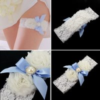 Wholesale Wedding Bridal Garters Sexy White Lace Crystal Pearl Sky Blue Flower cm Bridal Accessories Garters for Wedding