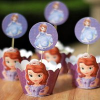 Wholesale Movie Sofia Princess Cupcake Wrapper Decorating Boxes Cake Cup With Toppers Picks For Kids Birthday Christmas Decorations Supplies