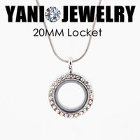 Wholesale 20mm Silver Floating Locket Zinc Alloy Rhinestone Floating Locket Glass Living Magent Memory Locket With Free Chains