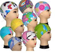 Wholesale Quality single adult children individually wrapped cloth swimming cap multicolor spot