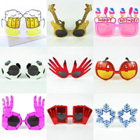 acrylic beer glass - 38 Design Party Glasses Beer Pumpkin Football Hand Poker Snowflake Novelty Funny Sunglasses Halloween Holiday Mixed Party Decoration
