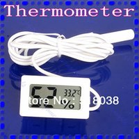 Wholesale B39 White Mini LCD Digital Thermometer Humidity Hygrometer Temperature Meter With Cable