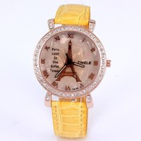 fashion jewelry dropship - New hot fashion women quartz watches analog leather imitation diamond jewelry casual lady watch tower eiffel dropship