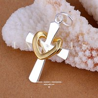 wholesale cross pendants - The new silver heart ring silver plated cross pendant jewelry trend of Korean style personalized pendant P094