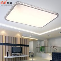 Wholesale modern square rectangle ultrathin lustre LED crystal children flush mounted ceiling lights fixture homy living light V V