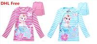 frozen tshirt - DHL Shipping Hot Newly Fashion Kids Cotton Tshirt Frozen Queen Elsa Long Sleeve Top Tees Girls Stripe Tshirt Pink Blue for y