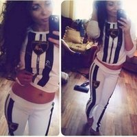 Wholesale 2015 Jogging European Fashion Women SET Casual Printed Sport Suit Tracksuit Sweatsuit Sweater Hoodies Sportswear S M L