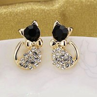 achat en gros de forme de chat coréen-12pairs Nouvelle forme coréenne délicate Bow Bling Rhinestone Crystal Cat Shape Womens Ear Stud Earrings Jewelry Gift Free Ship