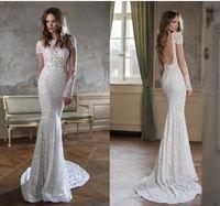 Cheap Custum Made 2016 Sexy Backless Short Sleeve Lace Beaded berta bridal berta Wedding Dressed Wedding Dresses Mermaid Style Wedding Gowns