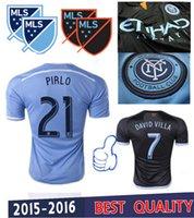 Mejor calidad de Tailandia 2015 2016 New York City FC azul Inicio negro fútbol Camisa ausente de los jerseys LAMPARD NYCFC DAVID VILLA Fútbol