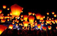 50pcs / lot main chinoise Kongming Lanterne Souhaitant Ovale Style Bénédiction papier Balloon Festival de Feu Lanternes Favors L901