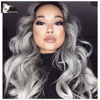 Wholesale Grey Synthetic Lace Front Wig Glueless Ombre Black to Grey African American Wigs Heat Resistant Hair Wigs Body Wave Wigs in stock