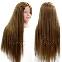 Wholesale 24 quot Real Human Hair Training Head Hairdressing Mannequin Makeup Head Clamp