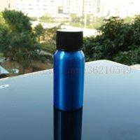 pharmaceutical raw material - 30ml aluminum blue bottle With black plastic cap cosmetic container used for essential oils pharmaceutical raw materials