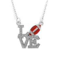 custom design jewelry - Fashion Design a Rhodium Custom Message Football Love Sports Fitness Paddle Link Chain Pendant Necklaces For Jewelry Making