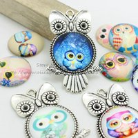 Wholesale Fashion mix Owl pendant Charms newest glass cabochon jewelry Antique Silver mm D0929