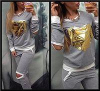 Cheap 2015 New Tracksuit For Women Casual Hoodies Set Golden Heart Sport Suit Sports Costumes Female 2 Pieces Set Sweatshirt+Pants