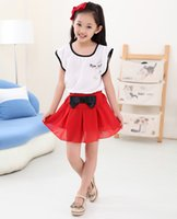 Wholesale Summer Children Girls Clothing Sets Petal Sleeve White Chiffon Blouse Bow Tie Red Skirts Kids Clothes Suits