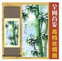 Waterproof Ink bamboo handicrafts - Top Ggrde Handicraft Modern Abstract Art Canvas Painting Scenery Bamboo Paintings Silk Wall Arts Picture Home Decoration Living Room Decor